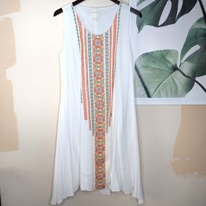 Chico's White Floral Embroidered Boho Tribal Dress